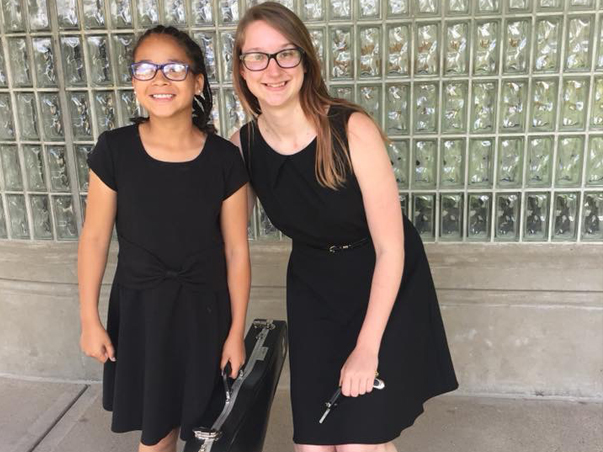 Natalie Howe and Violin Student